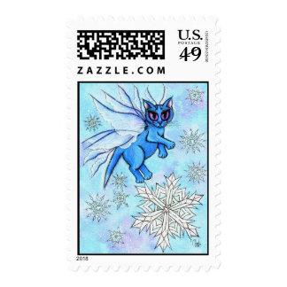 Winter Snowflake Fairy Cat Fantasy Art Postage