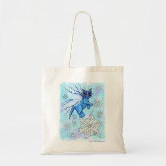 Winter Snowflake Fairy Cat Fantasy Art Tote Bag