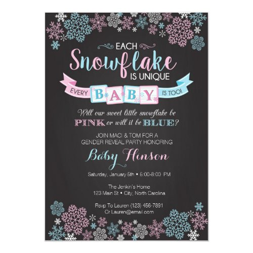 Winter Snowflake Gender Reveal Party Invitation