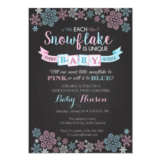 winter snowflake gender reveal party invitation - Gender Reveal Party Invites