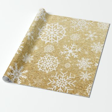 Christmas Themed Winter Snowflake Gold Glitter Christmas Wrapping Paper