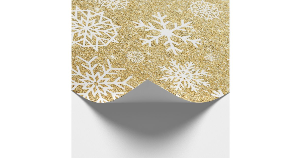 winter snowflake gold glitter christmas wrapping paper