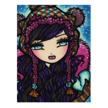 Winter Snowflake Heart of Ice Girl Art Postcard