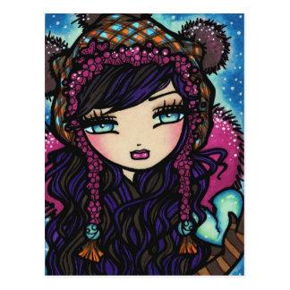 Winter Snowflake Heart of Ice Girl Art Postcard