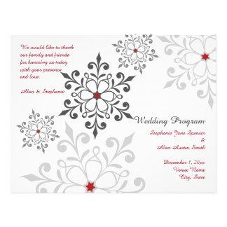 Winter Snowflake Holiday Wedding Program Flyers
