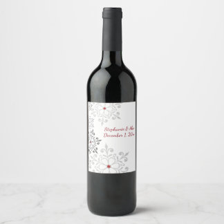 Winter Snowflake Holiday Wedding Wine Label