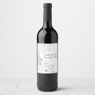 Winter Snowflake Holiday Wedding Wine Label