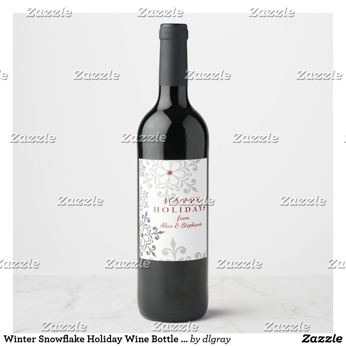 Winter Snowflake Holiday Wine Bottle Labels
