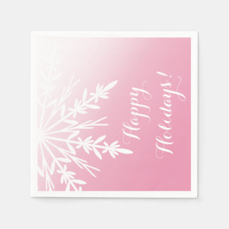 Winter Snowflake on Pink Happy Holidays Paper Napkin