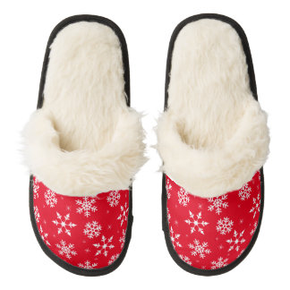 Winter Snowflake Pattern Pair Of Fuzzy Slippers