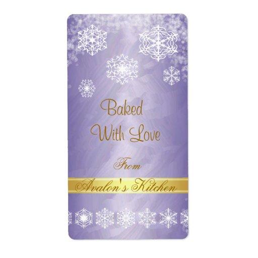 Winter Snowflake Purple Foil Holiday Baking Label