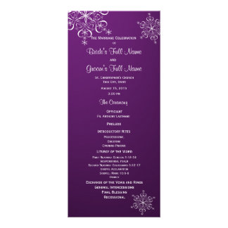 Winter Snowflake Purple Wedding Program