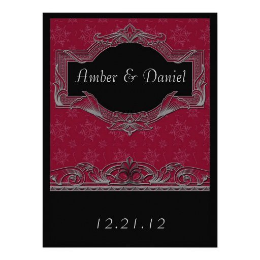Winter Snowflake Red and Black Wedding Invitations