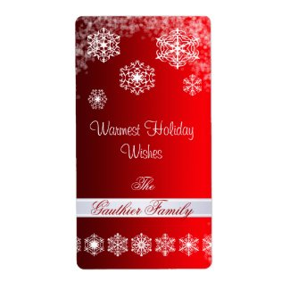 Winter Snowflake Red Holiday Wine Label