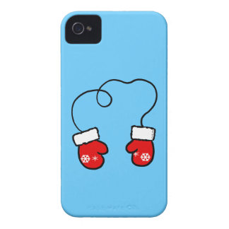 Winter snowflake red mittens iPhone 4 covers
