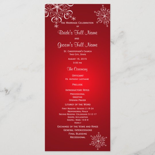 Winter Snowflake Red Wedding Program