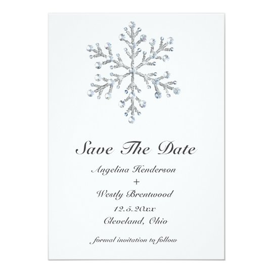 Winter Snowflake Save the Date Card