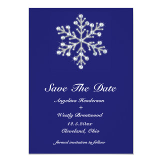 Winter Snowflake Save the Date indigo Custom Announcement