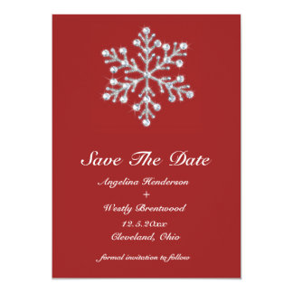 Winter Snowflake Save the Date Custom Invites