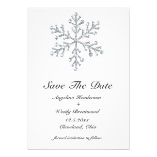 Winter Snowflake Save the Date Personalized Announcement
