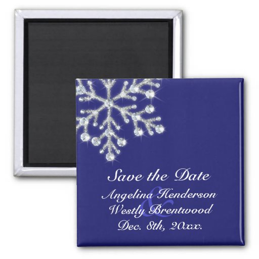 Winter Snowflake Save the Date Magnet indigo