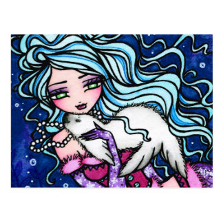 Winter Snowflake Seal Mermaid Fantasy Postcard