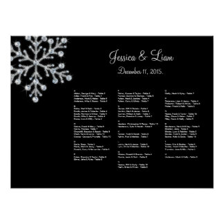 Winter Snowflake Seating Chart Poster