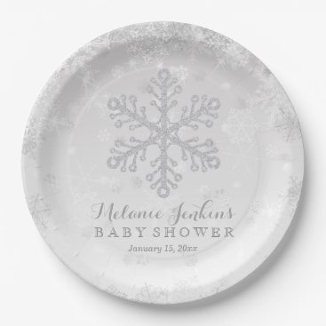 Toddler & Baby themed Winter Snowflake Silver Baby Shower Paper Plates