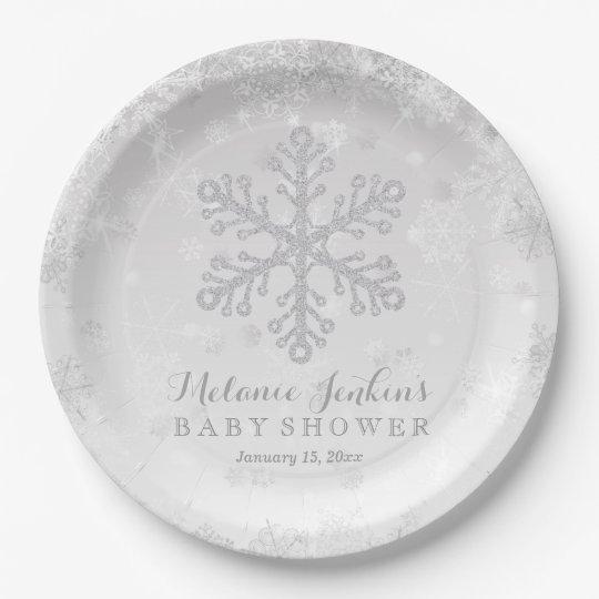 Winter Snowflake Silver Baby Shower Paper Plates | Zazzle.com