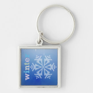 Winter Snowflake Silver-Colored Square Keychain