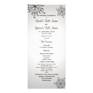 Winter Snowflake Silver Grey Wedding Program