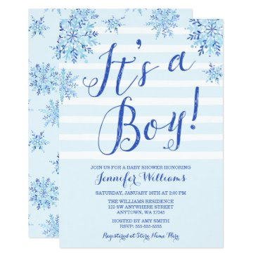 Beach Themed Winter Snowflake Stripes Boy Baby Shower Invites