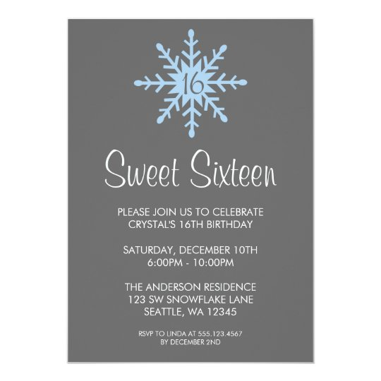 Winter Snowflake Sweet 16 Birthday Party Card