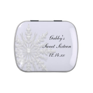 Winter Snowflake Sweet 16 Birthday Party Favor Candy Tin