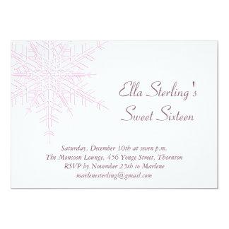 Winter Snowflake Sweet Sixteen Birthday Invitation