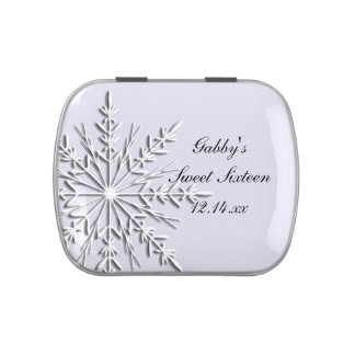 Winter Snowflake Sweet Sixteen Party Favor Candy Tin