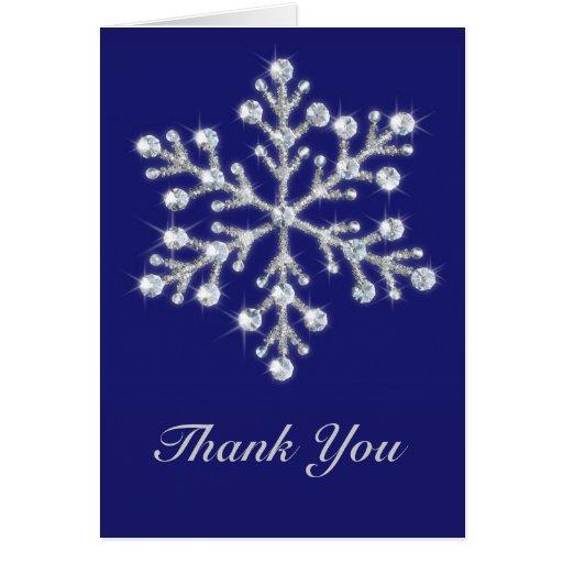 Winter Snowflake Thank You Card indigo