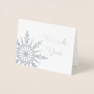 Winter Snowflake Thank You Note Foil Card
