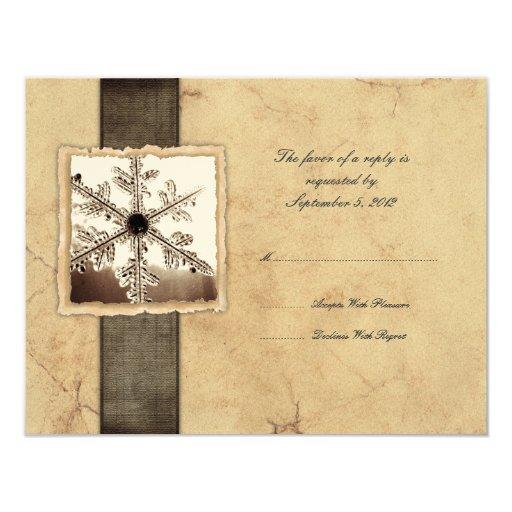 Winter Snowflake Vintage Wedding RSVP Card