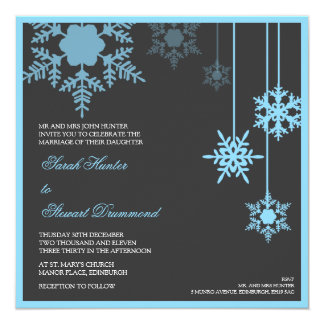 Winter Snowflake Wedding Invitation - blue