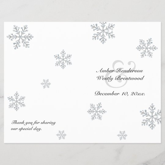 Winter Snowflake Wedding Program