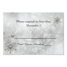 Winter Snowflake Wedding RSVP Card at Zazzle