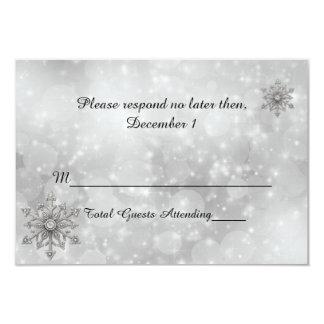 Winter Snowflake Wedding RSVP Card Custom Invitations