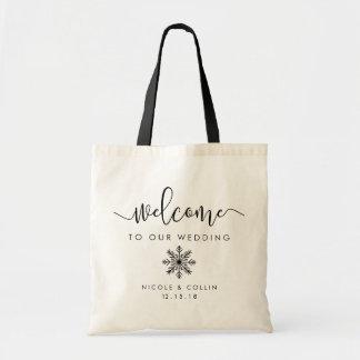 Winter Snowflake Wedding Welcome Tote Bag