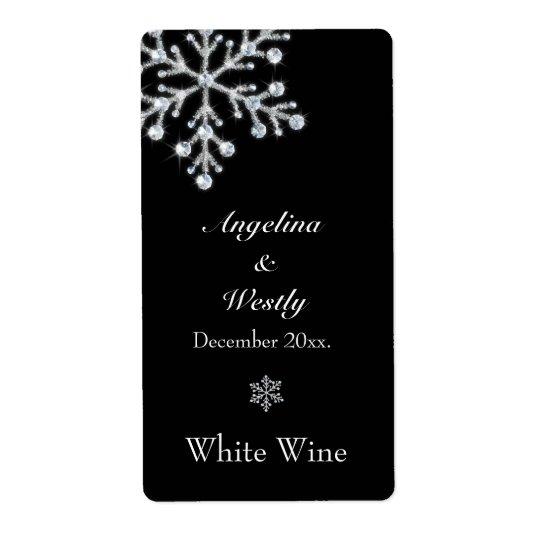 Winter Snowflake Wedding Wine Label
