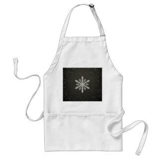 Winter Snowflake White Chalk Drawing Adult Apron