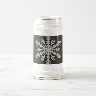 Winter Snowflake White Chalk Drawing Beer Stein