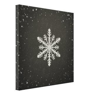 Winter Snowflake White Chalk Drawing Canvas Print