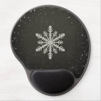 Winter Snowflake White Chalk Drawing Gel Mouse Pad