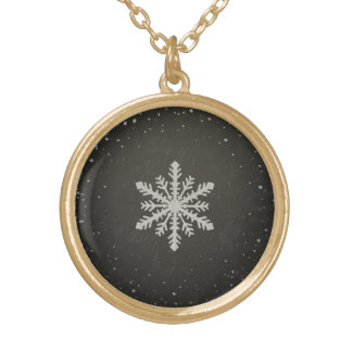Winter Snowflake White Chalk Drawing Gold Plated Necklace